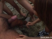 Shiho Kano and Asian model friends are enjoying the beach and some cock