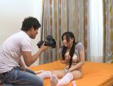 Pretty Japanese model in sexy stockings gets a cock ride