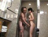 Saki Tsuji Lovely Asian babe gives sensual blowjob picture 13