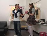 Lovely chick Yui sexy costume fuck with cum in mouth picture 13
