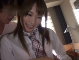 Ball licking by a sexy Japanese AV model