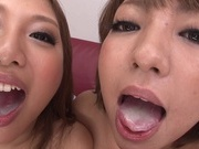 Kinky Japanese milfs Takei Maki,and Hikari give awesome mouth jobsasian ass, japanese sex}