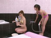 Rina Kato and friend fucked by customer in the bath
