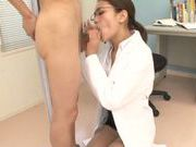 Lovely nurse Karen Aoki examines her patient and sucks his cock