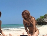 Shiho Kano Asian model and friends enjoy a fucking on the beach
