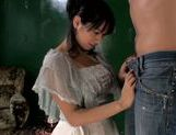 Brunette hottie Hana Haruna gives hand work and footjob picture 2