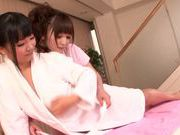 Steaming milf Fuuka Nanasaki oils and licks her partner