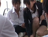 Naughty Japanese teacher Tsukasa Aoi enjoys group sex gets bukkake picture 3
