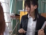 Naughty Japanese teacher Tsukasa Aoi enjoys group sex gets bukkake