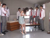 Beautiful Asian stunner Arisa Misato enjoys a kinky group play picture 11