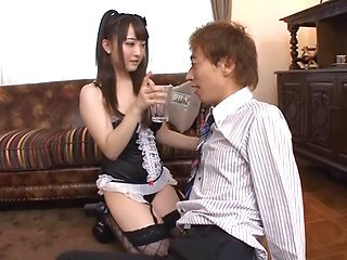 Vicious bombshell Yui Sasaki handles two cocks and gives a ride