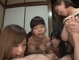 Horny Japanese girls enjoying the same dick