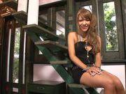 Gorgeous AV model Asuka Hoshi makes solo masturbation