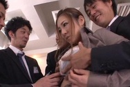 Kinky Asian milf Minori Hatsune surprises her colleagues with oral jobboobs tits, japanese boobs, asian tits
