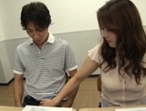 Skillful mature teachers arrange hand work at a meeting picture 6