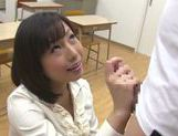 Sexy teacher Kanari Tsubaki does hand work on hard cock picture 7