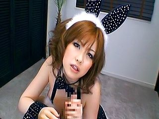 Rio Hamasaki Busty Asiam Model In Bunny Suit Sucks Cock
