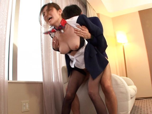 Hot Japanese stewardess Yuna Shiina in hardcore action