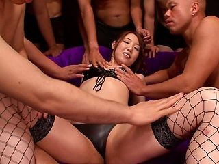 Rina Uchimura naughty Asian babe gives double blowjob in gangbang