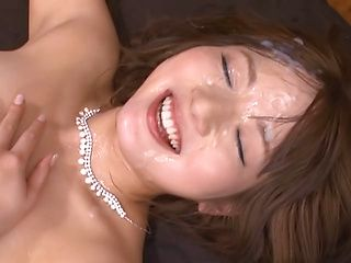 Yuu Asakura nasty Asian milf gets bukkake gangbang
