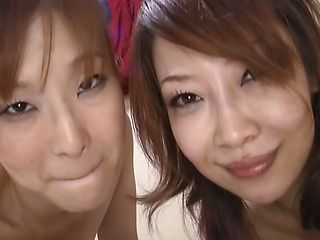 Naughty Japanese AV Models are hot milfs in a threesome