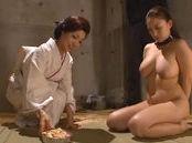 Big boobed Japanese AV model plays slave and gives a hot headfuck