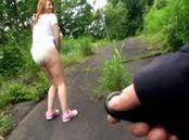 Alluring hot mature Asian chick enjoys vibrators outdoors