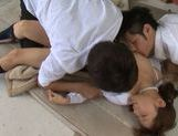 Hot Asian teen Minami Kojima enjoys rough sex with two guys picture 13