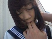 Innocent Japanese schoolgirl Yuri Shinomiya gets fingered