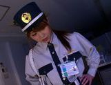 Policewoman Akiho Yoshizawa makes a footjob for a burglar