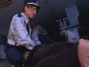 Policewoman Akiho Yoshizawa makes a footjob for a burglarasian babe, asian pussy}