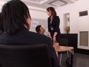 Leggy office chick Asuka gets her head and pussy fucked