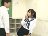Japanese schoolgirl, Aimi Usui, receives a harsh fuck picture 14