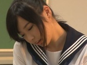 Japanese schoolgirl, Aimi Usui, receives a harsh fuck