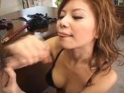 Akane Hotaru Asian model fobdles and sucks a hard cock