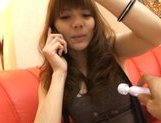 Rio Asian doll pokes her hairy pussy with a vibrator picture 12