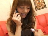 Rio Asian doll pokes her hairy pussy with a vibrator picture 14