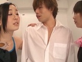 Kinky Japanese young babes arrange a hot threesome sex in a bathroom