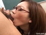 Asahi Miura Sexy Asian teacher enjoys sex with her horny students picture 14