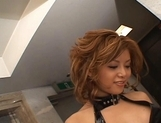 Akane Hotaru Asian model is tied up baring her pink pussy