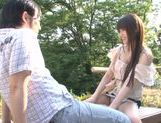 Busty Asian teen Ai Nakaidou fucking in the park picture 11