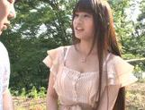 Busty Asian teen Ai Nakaidou fucking in the park picture 1