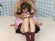Petite Asian teen Momoka Ariyoshi enjoying a hard fuck