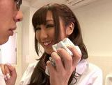 Asian schoolgirl with curly hair Mizuki Hinano rides dick picture 12