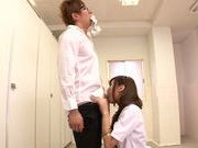 Asian schoolgirl with curly hair Mizuki Hinano rides dick