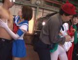 Naughty Japanese teen models enjoy wild group action picture 13