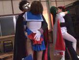 Naughty Japanese teen models enjoy wild group action