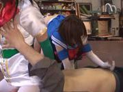 Naughty Japanese teen models enjoy wild group action