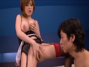 Rio Hamasaki Big boobed Asian doll rubs her hot pussyasian women, cute asian, japanese pussy}