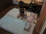 Gorgeous Japanese AV hottie bounces on naughty cock